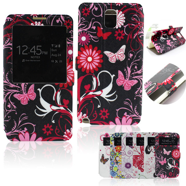 2014 Fashion butterfly design Leather Cover Case for Samsung Galaxy Note 3