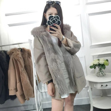 2016 Fashion Charming Women Winter Wholesale Custom Cashmere Wool Coat With Real Fox Fur Lining and Hooded