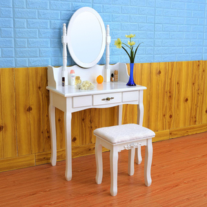 D1722 white rotating mirror dressing table cabinet design small bedroom simple dressing table