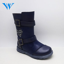 Latest design winter season kids tall boots girls custom faux leather fur boots