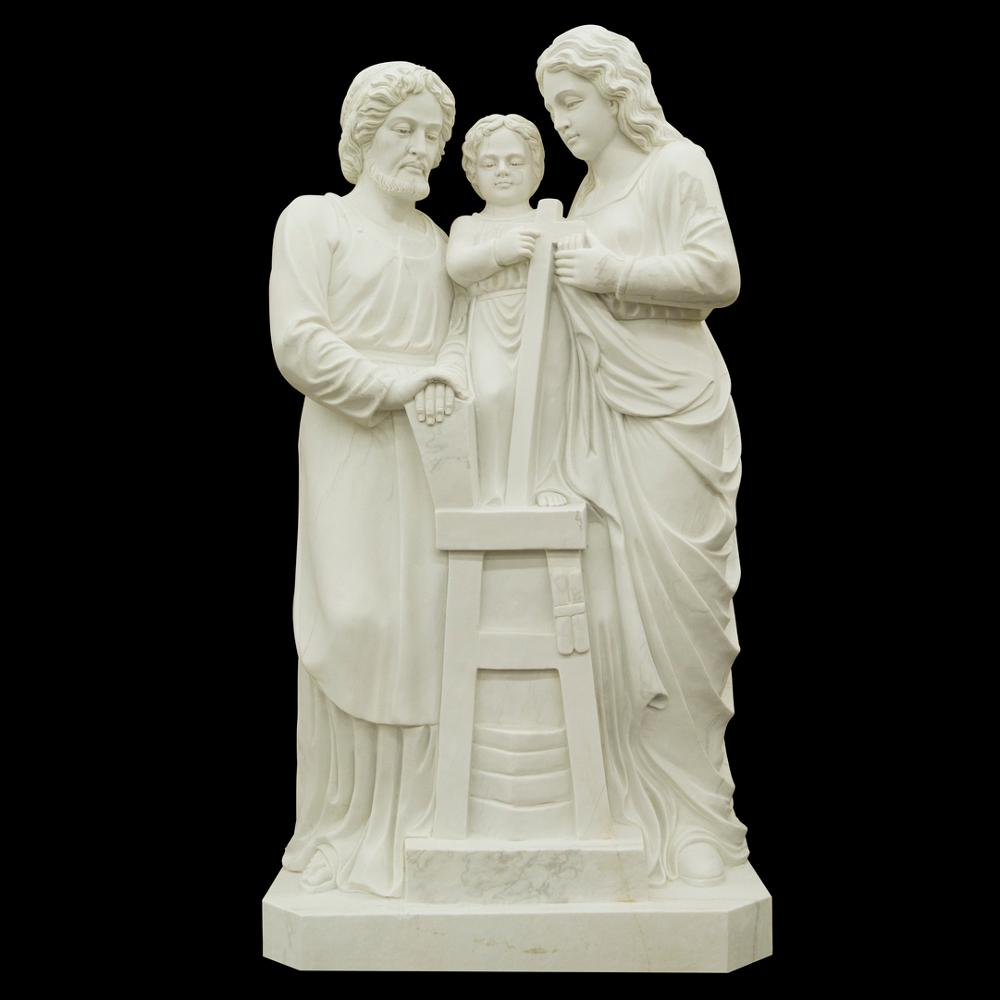 Holy Family Religious Church White Marble Sculpture
