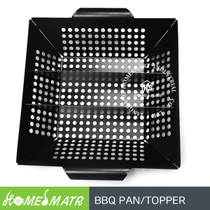 color non stick coated mini BBQ topper square barbeque basket grilling pan with holes for vegetable roasting