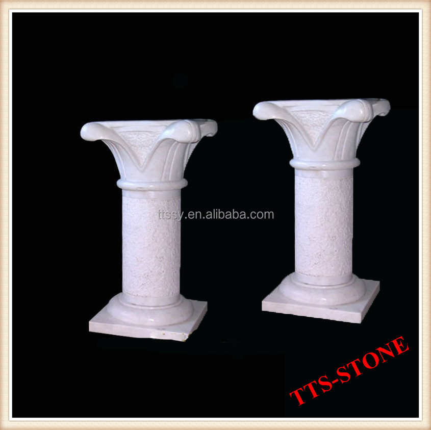 White Marble Pillar Outdoor Roman Column