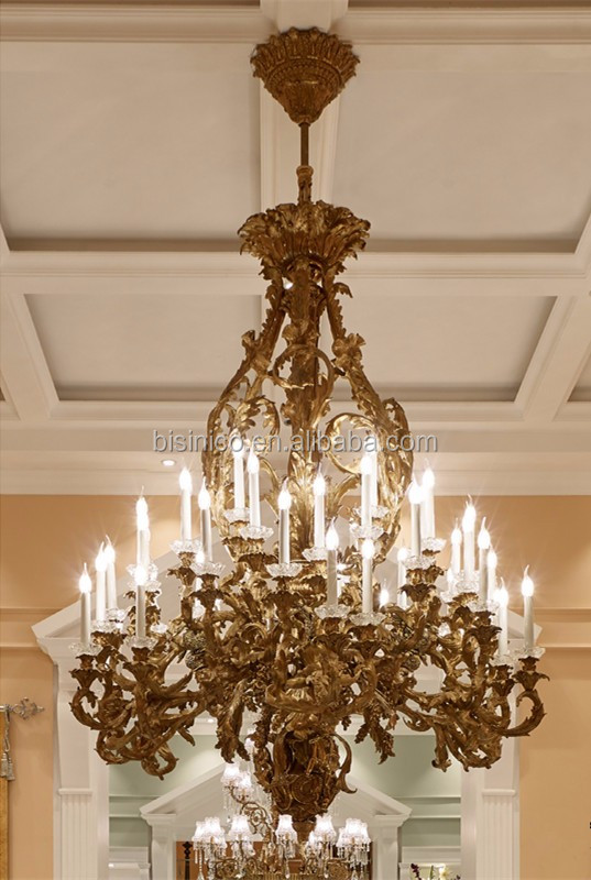 Luxury Bronze 24 lights Chandelier, Retro Design Hotel Ceiling Lamp, Antique Brass Pendant Light