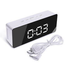 Acrylic mirror table alarm digital LED clock with temperature