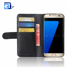 Wholesale Real Genuine Wallet Leather Phone Cases with Card Slots Holder Pocket Flip Stand Cover For Samsung Galaxy S7 Edge