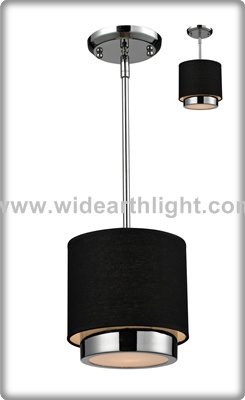 UL/CUL Listed Black Fabric Shades Hanging Lamp In Chrome Finish C50357