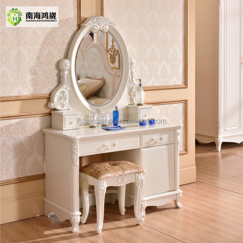 Modern European Pastoral Style White Finish Wooden MDF Bedroom Vanity Table Desk Cabinet Dresser with Makeup Mirror <strong>and</strong> Stool