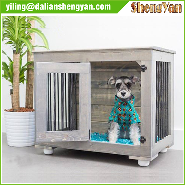 Wooden end table dog crates