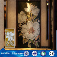 interior wall decoration glass flower mosaic tile pictures pattern