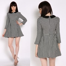 Women's Autumn Winter Casual Dress Long-sleeve Doll Collar Houndstooth Plaid Dresses SV009978 #
