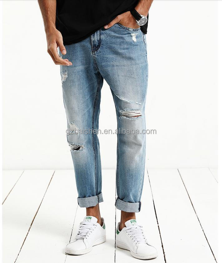Mens side pocket jeans blue jeans pants knee rips stretch loose denim jeans for man