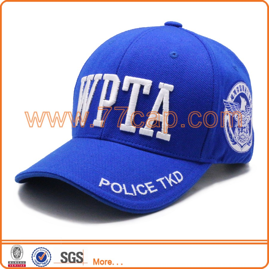Fashion top quality 3d embroidery acrylic wool blend royal navy baseball caps