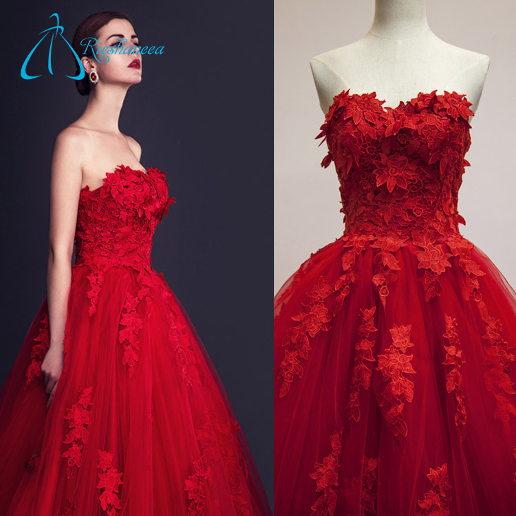 Tulle Satin Decent Ball Gowns Red Long Evening Dress