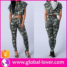 elegant women two piece camouflage casual leisure wear with hood