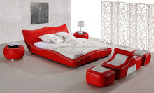 Evergo modern PU leather bedroom bed set, with bench and footstool