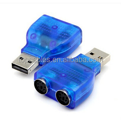Blue color F/F double PS2 to USB adapter/ converter