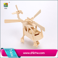 Cotowins 3d diy wooden puzzle mini helicopter plane model foam flying toy