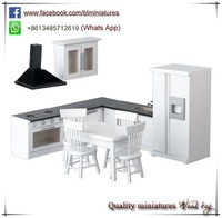 1:12 Scale Hot Sale 11pc Kitchen And Dinette Set Kids Toy Wooden Doll Houses With Furniture