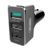 UNITEK 42W 3 Port USB Quick Charge 3.0 Car Charger (1-Port QC3.0 + 2-Port 2.4A), w/ Aluminum case, for mobile phone, Tablet
