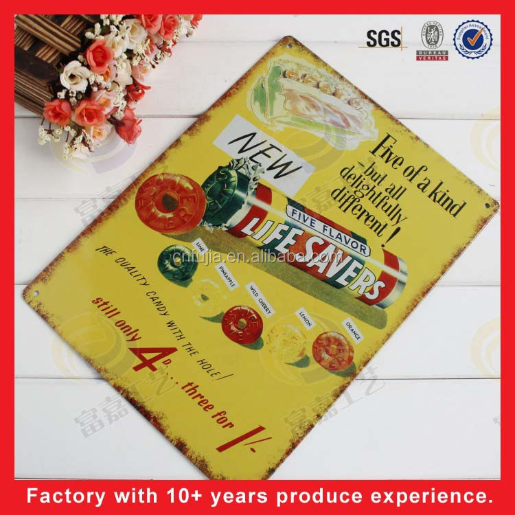 2017 factory wholesale 20cm*30cm custom nostalgic vintage metal printing tin signs