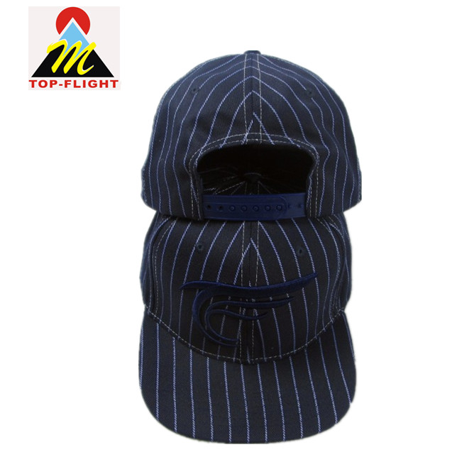 navy&white stripes embroidery snapback cap