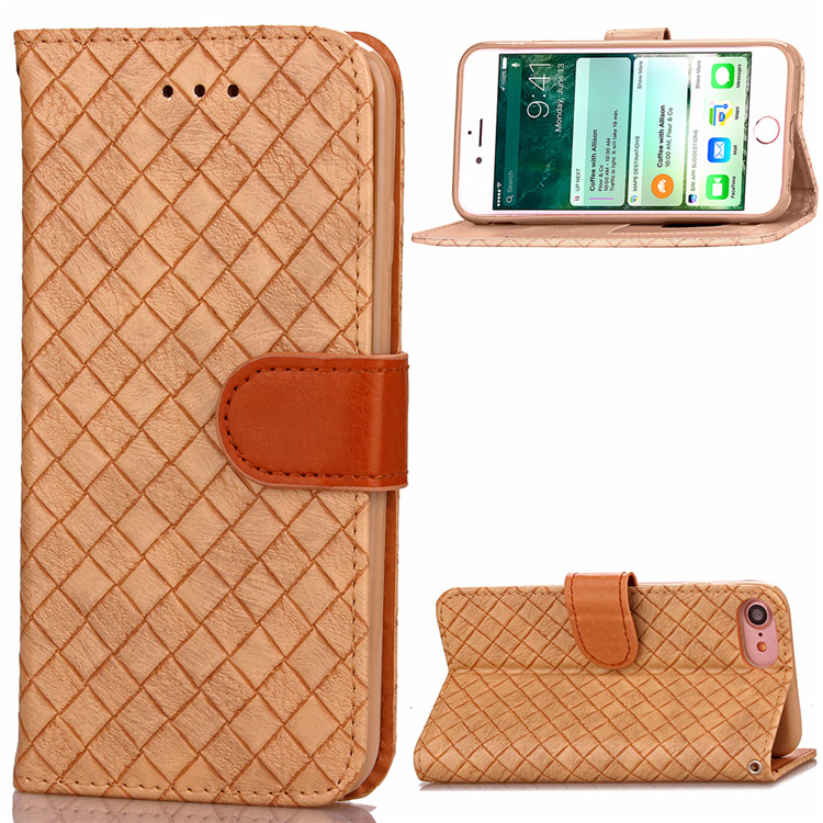 Fashion Handmade Weave Leather Stand Back Cover Phone Case for iPhone 8 7