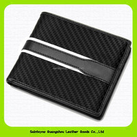 15593 Newly carbon fiber genuine leather mens wallet purse in hot selling