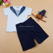 Fancy design short sleeve matching shirts and pant boy navy uniform boys clothes set