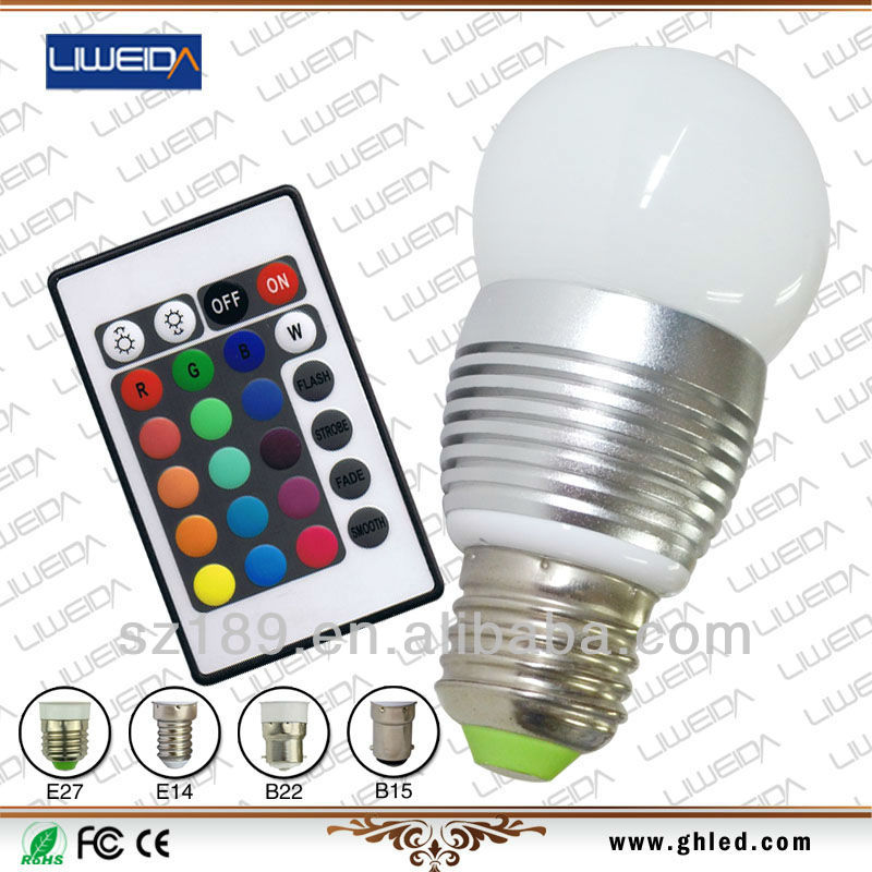 3W RGB Frosted cover E14/E26/E27/B22 base remote control rechargeable led bulb light
