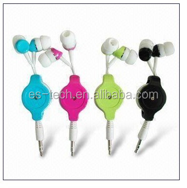 Colourful In ear earphone with retractable cable, wired earpiece