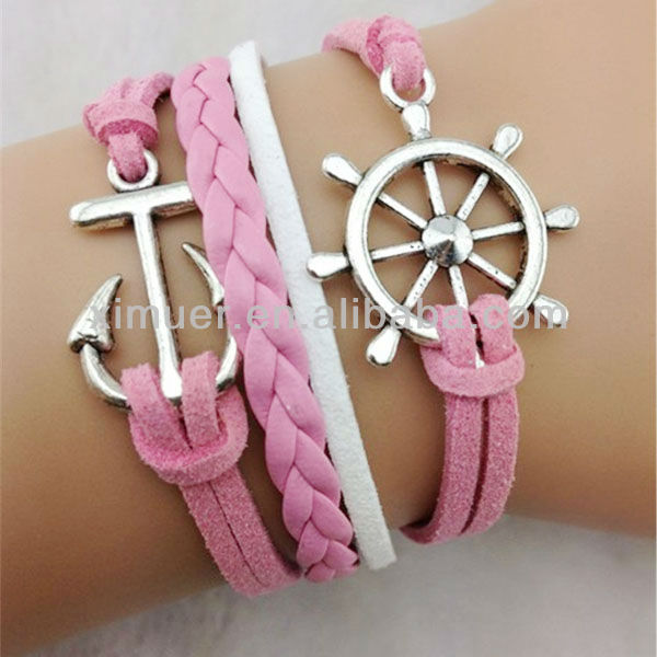 Latest design suede woven anchor and rudder bracelet