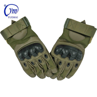 Outdoor Sports Leather Full Finger Impact Resistant Combat Safety Work Police Army Military Tactical Gloves With Hard Knuckles
