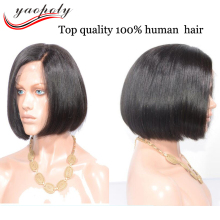 Hot sales silk straight Malaysian human hair short bob lace front wig with bangs