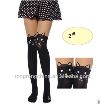 New Sexy Spandex Cat Design Print Japanese Nude Women Tights