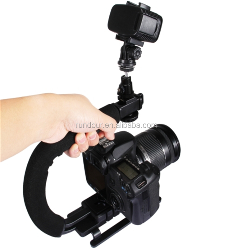 "U-Grip Video Stabilizer Video Handle Grip 1/4""-20 removable tripod mounts for Camera Camcorder Dslr Video"