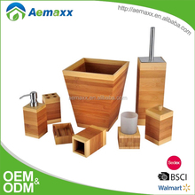 Simple design natural style of bathroom accessory sets 8pcs bamboo accessories sets with soap dispensers