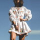 Summer Clothing Fashion Lady Embroidery Linen Beach dress