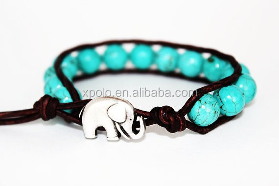 2015 wholesale new product leather wrapped Turquoise beads bracelet handmade