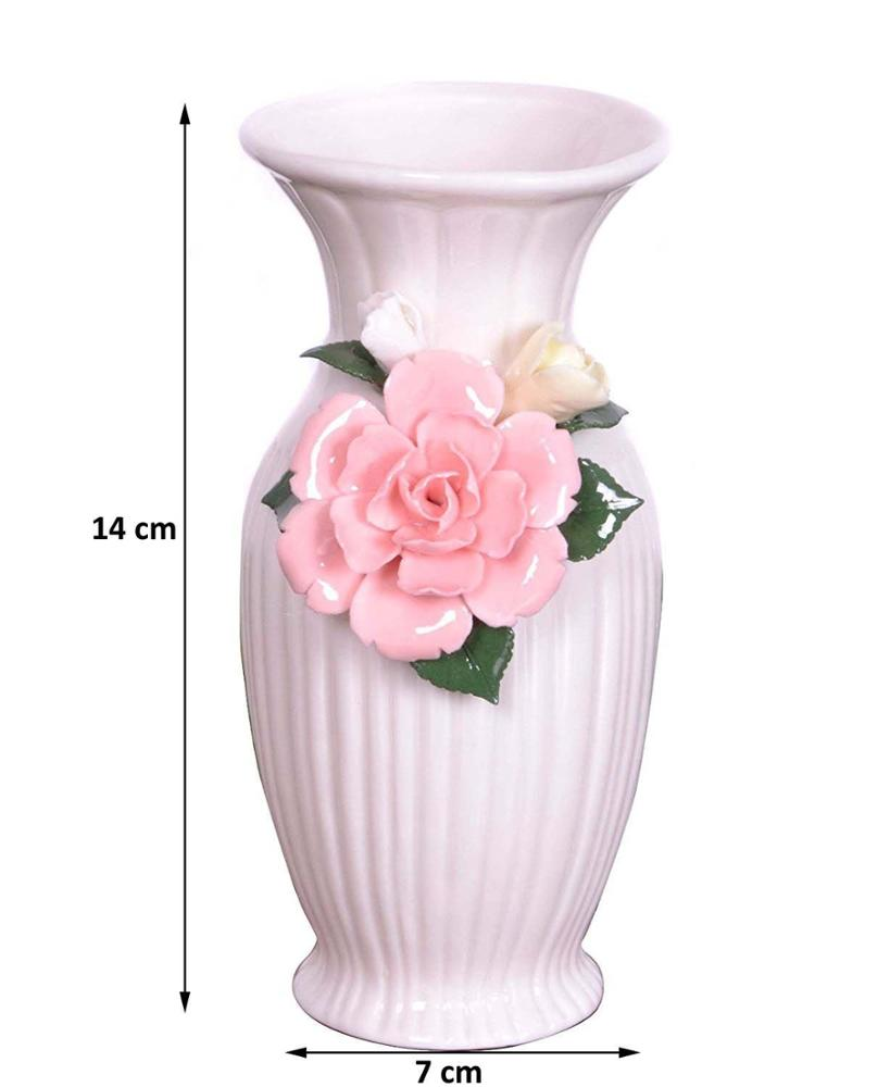 Big Bottle Shape Fine Porcelain White Flower Vase With Pink Flowers