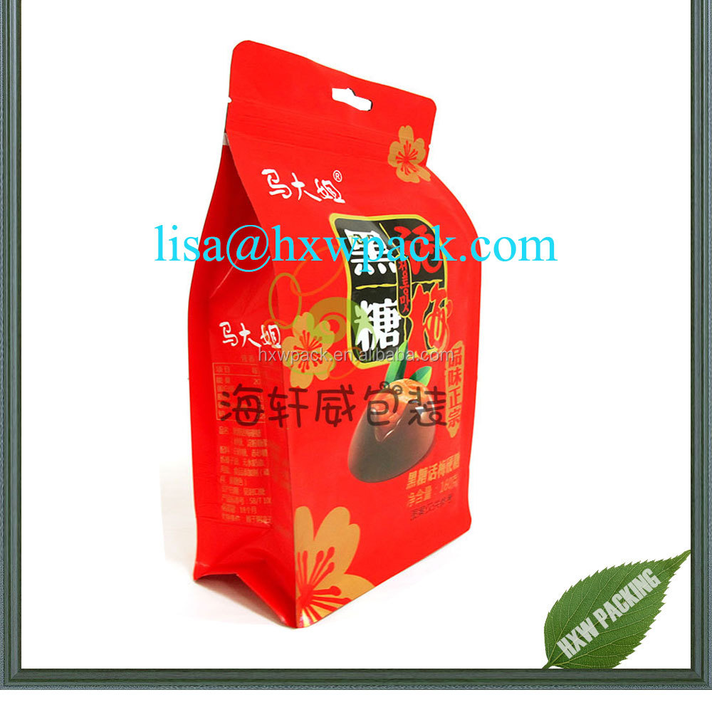 custom printed elegant quality eight side sealed quad sealed bottom medlar goji berry plastic packing pouch sachet