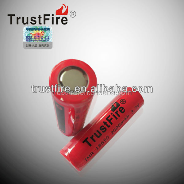 Trustfire original factory IMR 18650 2000mah Rechargeable Battery e cig battery 3.7v CE approved