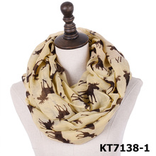 Hot selling fashion christmas style elk infinity scarf