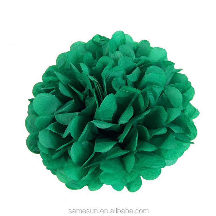 Green Red Tisssue Paper Flower Ball Christmas Paper Decoration Set