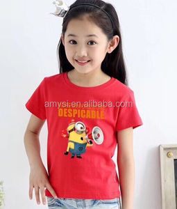 0.8 USD GBY003 Chinese factory Large stock High quality kids cartoon Printed Cotton t shirt