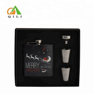 FDA novelty 6oz unique stainless steel hip flask set Christmas gift ideas with wine glasses