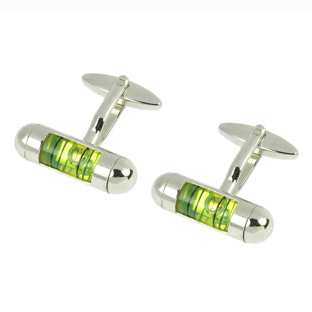 Aformen hot seller custom green liquid level cufflinks