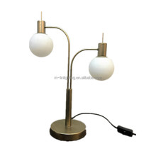 double socket painted bronze metal table lamp