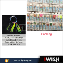 Saltwater Fly Fishing Black And Yellow Feather Sabiki Hooking