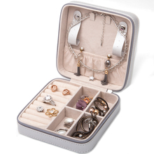 Zippered Faux Leather Travel Jewelry Box Organizer Display Storage Case for Rings Earrings